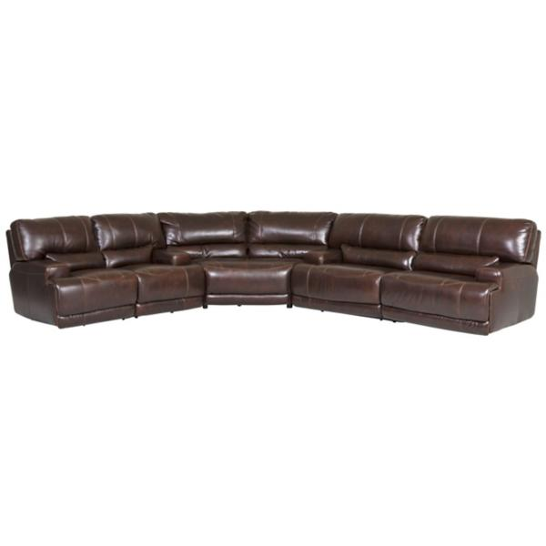 Dash Leather 3-Piece Power Reclining Sectional - COFFEE