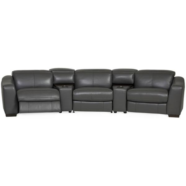 Ferrari Leather 5-Piece Power Reclining Home Theater Sectional - MAGNET