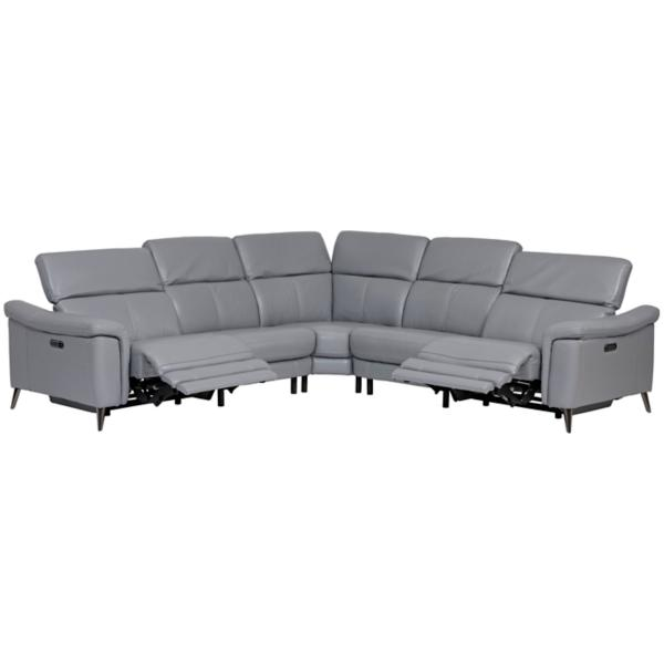Orly Leather 5-Piece Modular Power Reclining Sectional