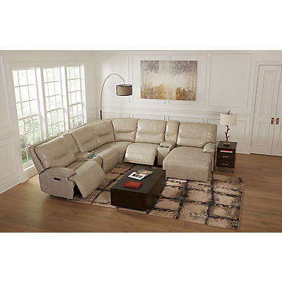 Enzo Leather 7-Piece Modular Power Reclining Chaise Sectional (RAF)