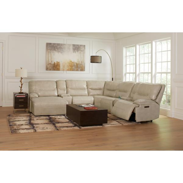 Enzo Leather 7-Piece Modular Power Reclining Chaise Sectional (LAF)