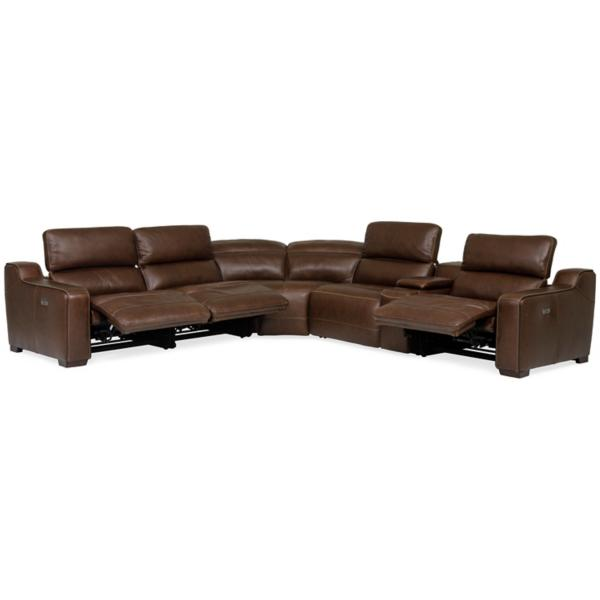Reed Leather 6-Piece Power Modular Sectional