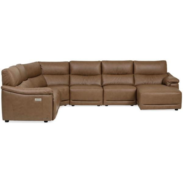 Mario Leather 6-Piece Power Reclining Modular Chaise Sectional (RAF)