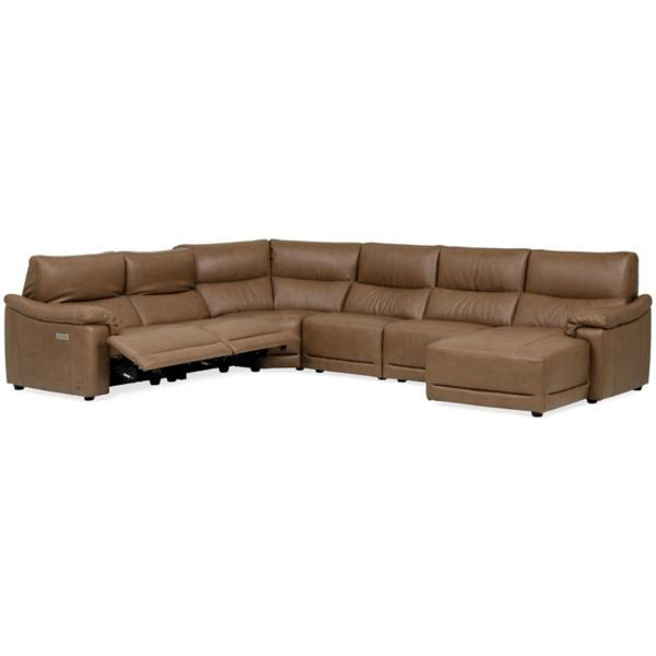 Mario Leather 6 Piece Power Reclining Modular Chaise Sectional (RAF)