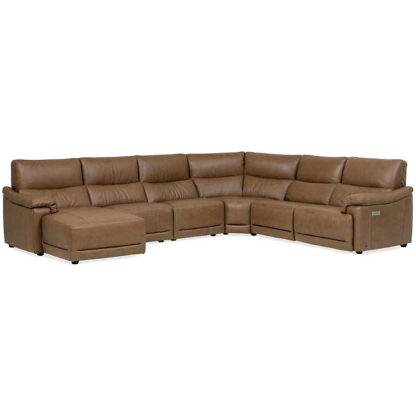 Mario Leather 6 Piece Power Reclining Modular Chaise Sectional (LAF)