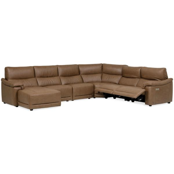 Mario Leather 6-Piece Power Reclining Modular Chaise Sectional (LAF)
