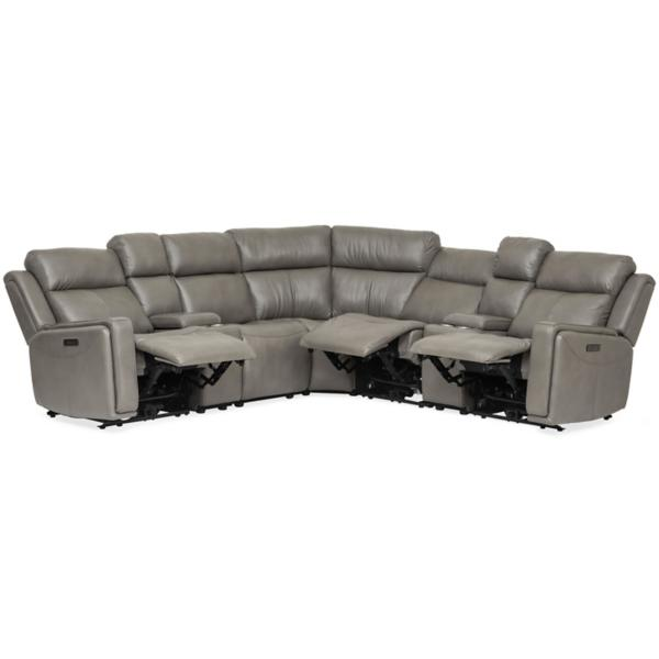 Perry Leather 7-Piece Power Reclining Modular Sectional