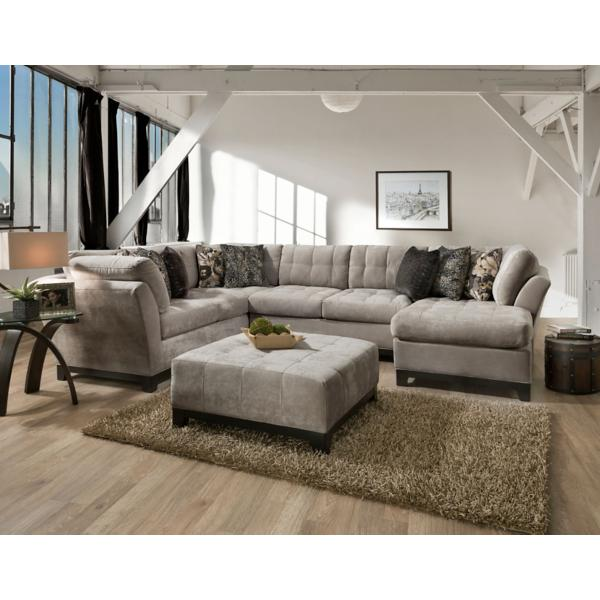 Gotham 3-Piece Chaise Sectional (RAF) - GRANITE