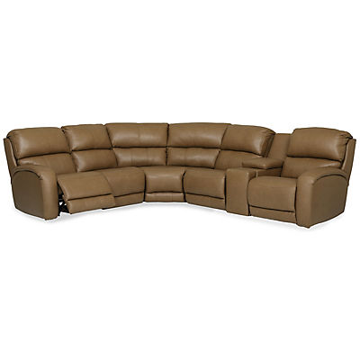 Fandango Leather 6-Piece Modular Power Reclining Sectional with Heat & Massage