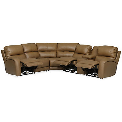 Fandango Leather Modular 6-Piece Power Reclining Sectional with Heat & Massage