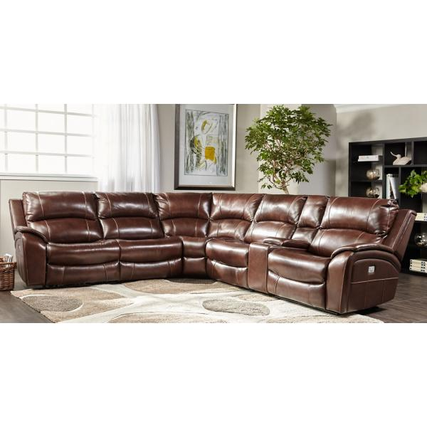 Carlton Leather 6-Piece Modular Power Reclining Sectional