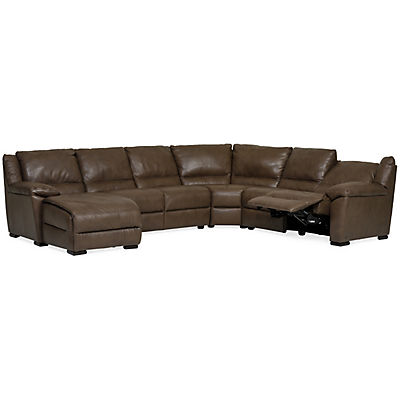 Marco Leather 4-Piece Power Reclining Chaise Sectional (LAF)