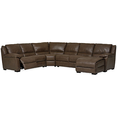 Marco Leather 4-Piece Power Reclining Chaise Sectional (RAF)