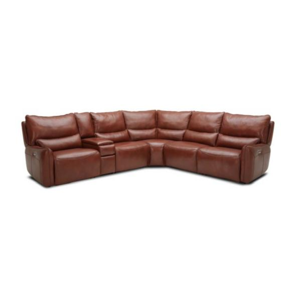 Mercer Leather 6-Piece Power Reclining Modular Sectional