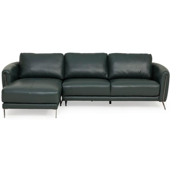 Aldo Leather 2 Piece LAF Chaise Sectional - KELP GREEN