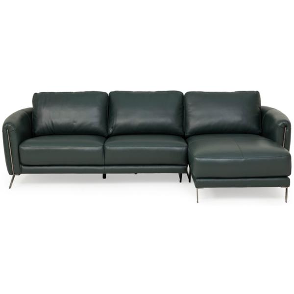 Aldo Leather 2 Piece RAF Chaise Sectional - KELP GREEN