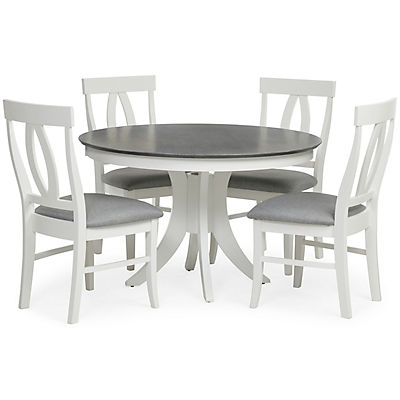 Cosmopolitan White/Grey Round Pedestal Table