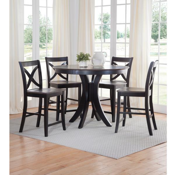Cosmopolitan Round Black/Coal Counter Height Table