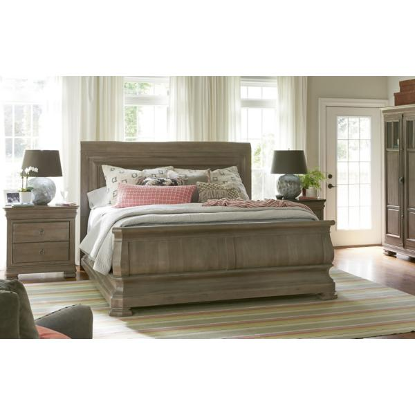 New Lou Reprise Driftwood Sleigh Bed