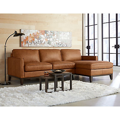 Justin Leather Chaise Sectional (RAF Chaise)