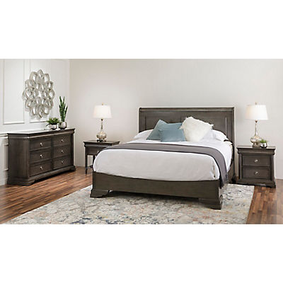 Louis Philippe Silver/Black Queen Panel Bed