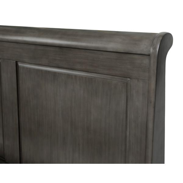 Louis Philippe Silver/Black Panel Bed
