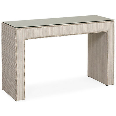 Jackie Glass Top Upholstered Console Table