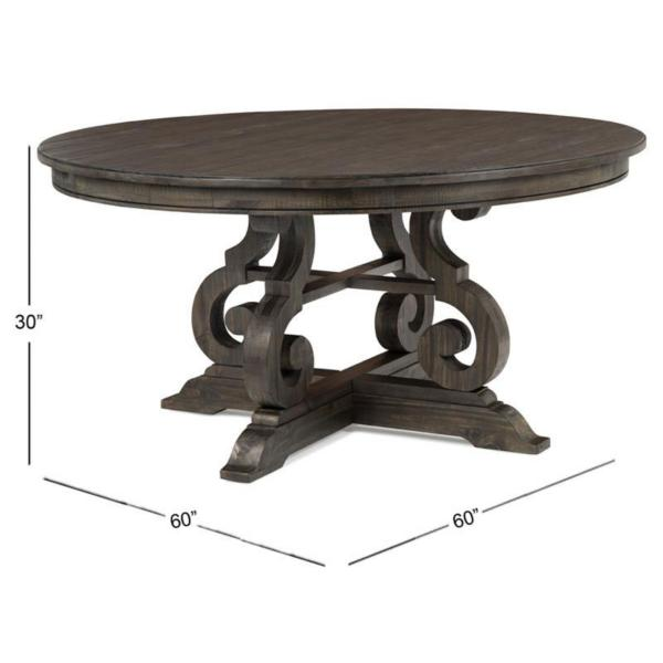 Treble II Round 60 Inch Dining Table - PEPPERCORN