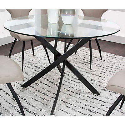 save off 84449 3e1e8 Eclipse 42inch Round Glass Top Dining Table
