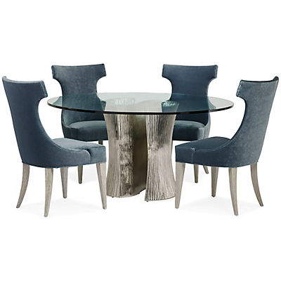 Serpentine Round Glass Dining Table