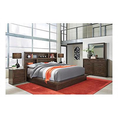 Modern Loft II Queen Storage Platform Bed - BROWN