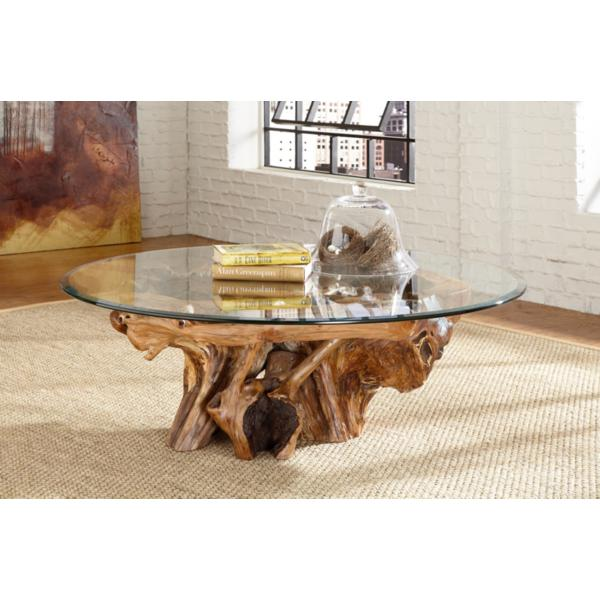Arboles Round Glass Top Root Ball Coffee Table