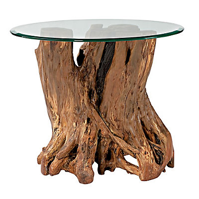 Arboles Round Glass Top Root Ball End Table