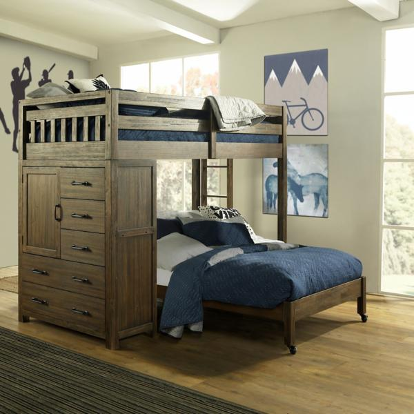 St. Croix Walnut Twin Loft Over Full Caster Bed