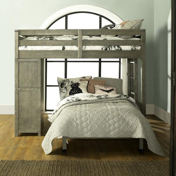 St. Croix Grey Twin Loft Over Full Caster Bed