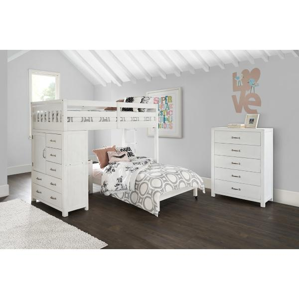 St. Croix White Twin Loft Over Full Caster Bed