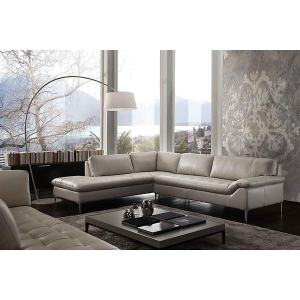 Dino Leather Sofa Chaise Sectional (RAF) - CREAM