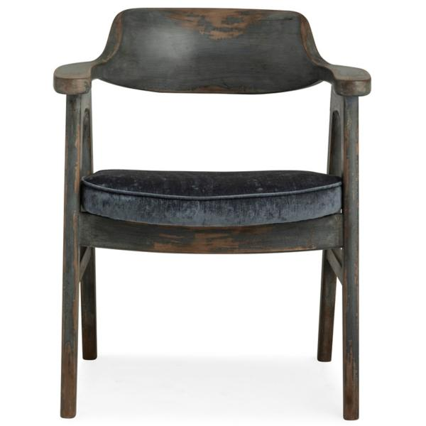 Wagner Blue Frame Side Chair With Pewter Seat