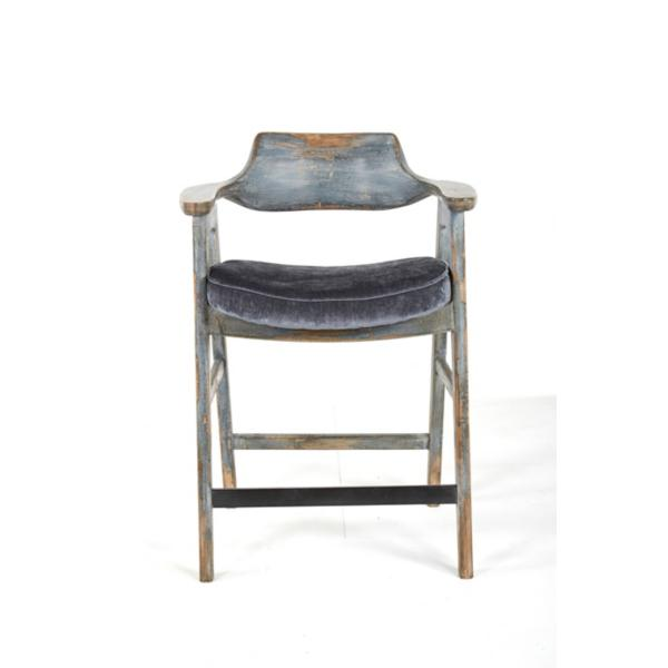 Wagner Blue Frame Counter Stool With Pewter Seat