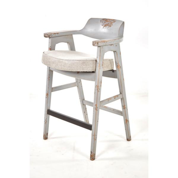 Wagner Grey Frame Bar Stool With Grey Seat