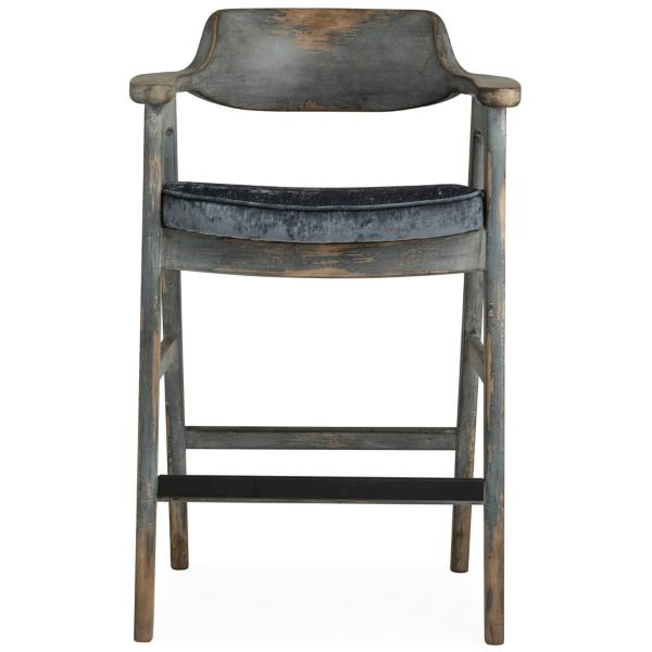 Wagner Blue Frame Bar Stool With Pewter Seat