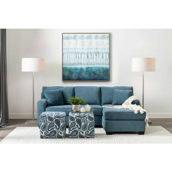 Monty 2-Piece Sofa with Floating Chaise - LAGOON
