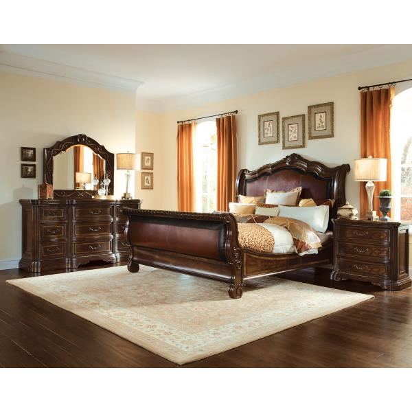 Valencia Leather Sleigh Bed