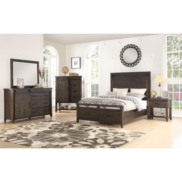 New Haven King Panel Bed with Footboard Storage