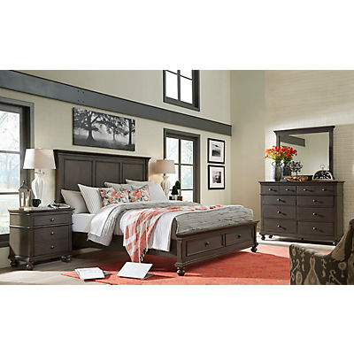 Oxford Peppercorn Queen Panel Bed with Storage Footboard