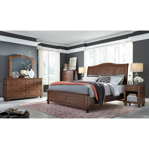 Oxford Whiskey Brown Sleigh Bed