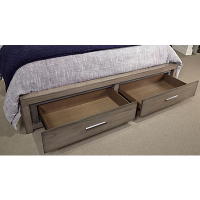 Modern Loft Brownstone Queen Panel Bed with Storage Footboard