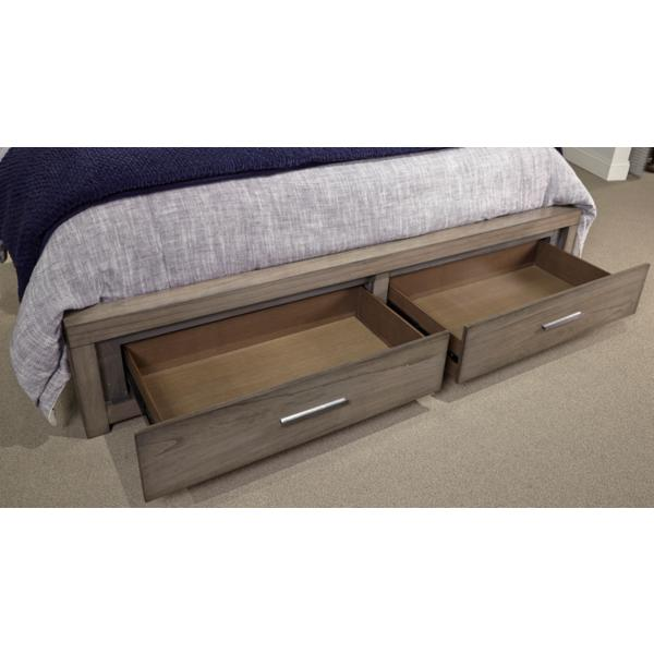 Modern Loft Brownstone Panel Bed with Storage Footboard
