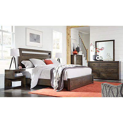 Modern Loft Brownstone King Panel Bed