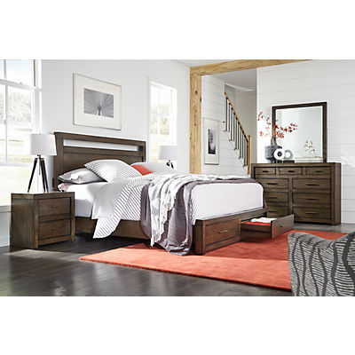 Modern Loft Brownstone King Panel Bed with Storage Footboard